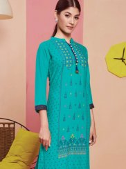 Rayon Print Party Wear Kurti in Blue