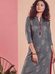 Rayon Print Party Wear Kurti in Grey