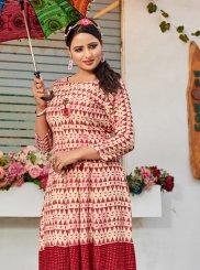 Rayon Print Party Wear Kurti in Multi Colour
