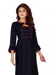 Rayon Print Party Wear Kurti in Navy Blue