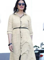 Rayon Print Party Wear Kurti in Off White