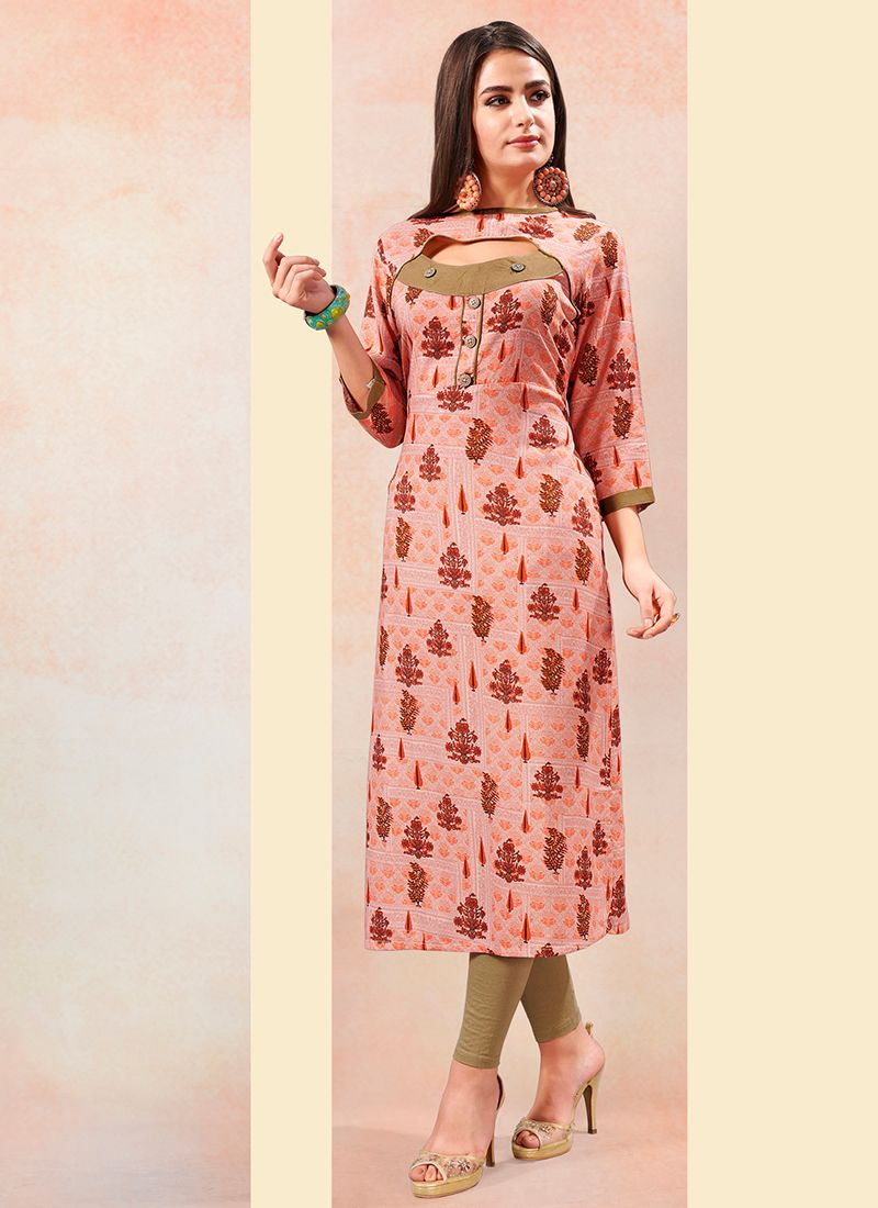 Rayon Print Party Wear Kurti in Peach