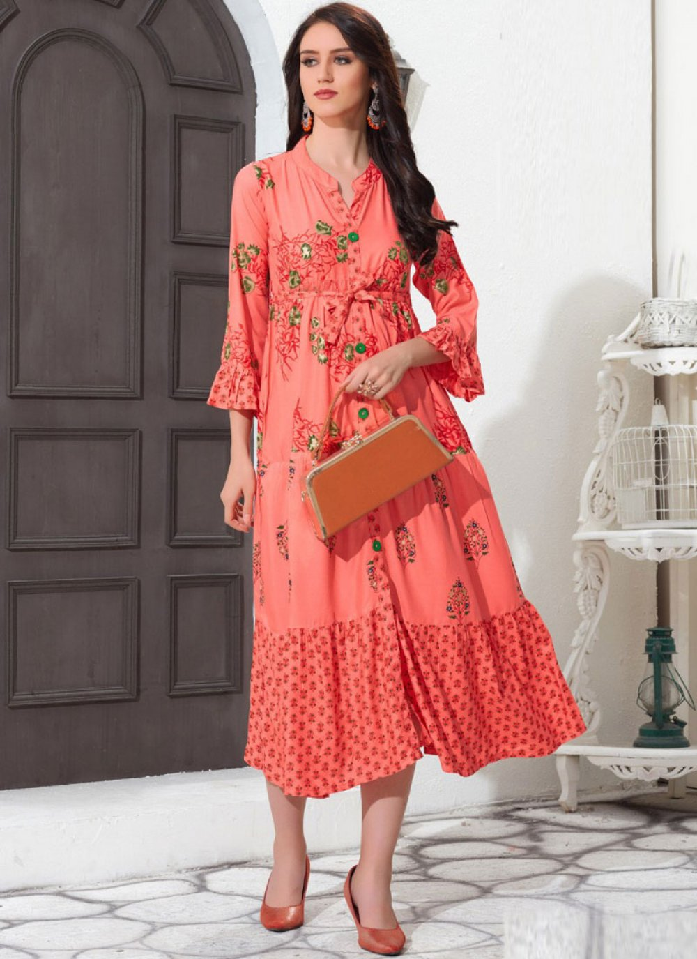 Rayon Print Peach Party Wear Kurti