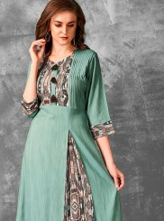 Rayon Print Sea Green Party Wear Kurti
