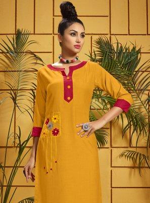 Rayon Print Yellow Party Wear Kurti
