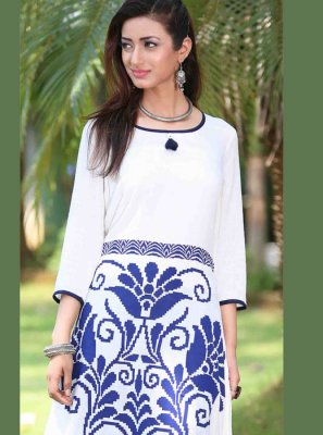 Rayon Printed Casual Kurti in White