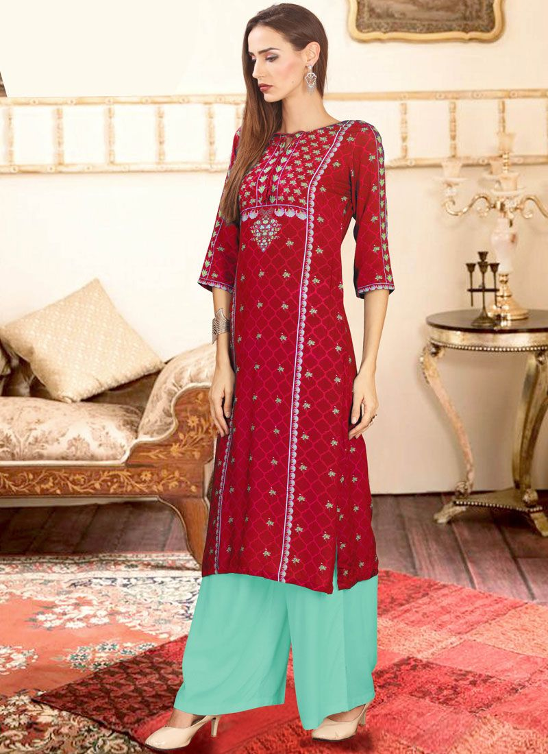 Rayon Red Designer Palazzo Suit