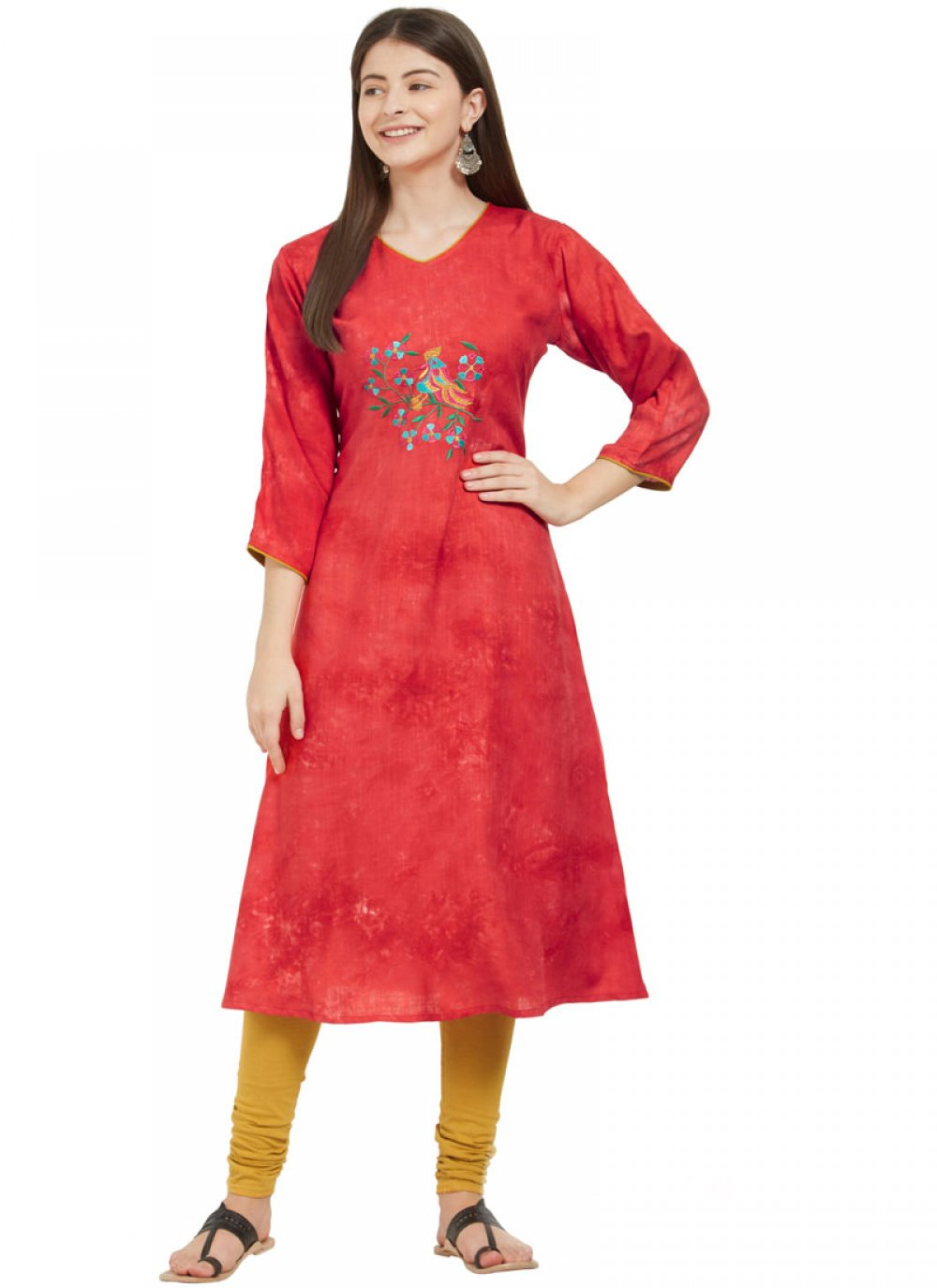 Rayon Red Party Wear Kurti