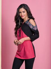 Rayon Thread Work Casual Kurti in Hot Pink