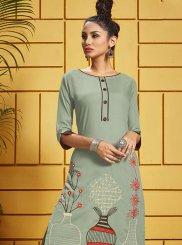 Rayon Thread Work Grey Designer Kurti