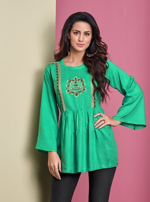 Rayon Thread Work Sea Green Casual Kurti