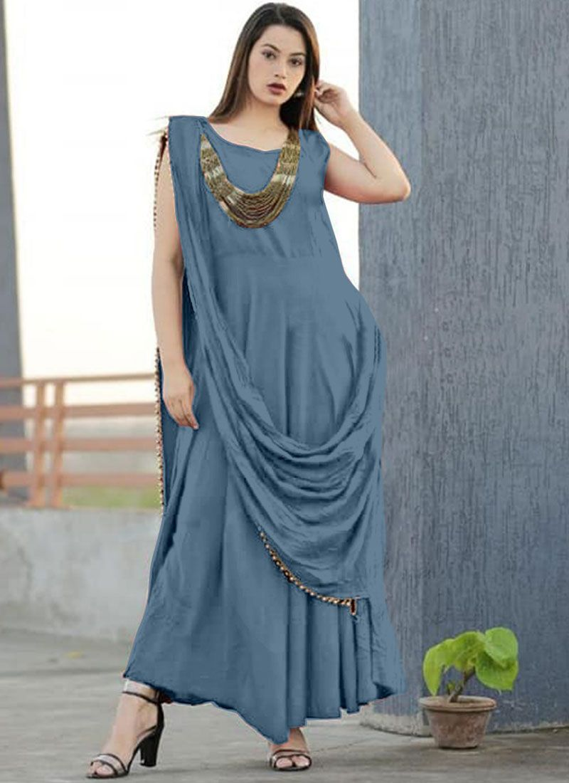 Rayon Trendy Gown in Grey