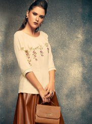 Rayon White Embroidered Casual Kurti
