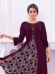 Rayon Wine Print Party Wear Kurti