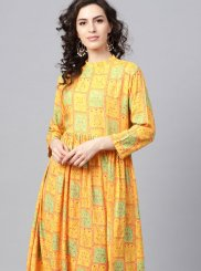 Rayon Yellow Print Party Wear Kurti