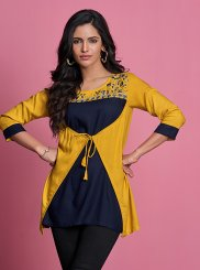 Rayon Yellow Thread Work Casual Kurti