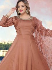Readymade Anarkali Suit Fancy Fancy Fabric in Brown