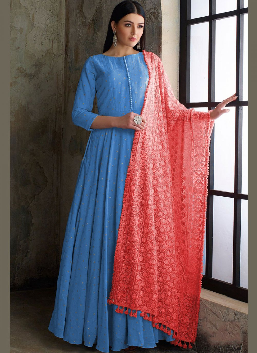 Readymade Anarkali Suit Fancy Muslin in Blue