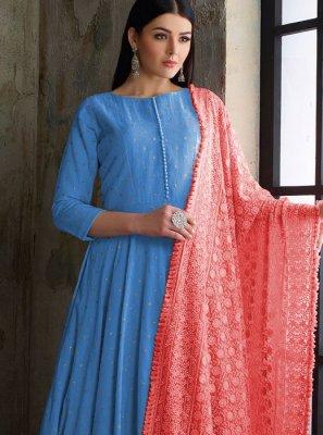 Readymade Anarkali Suit Fancy Muslin in Blue