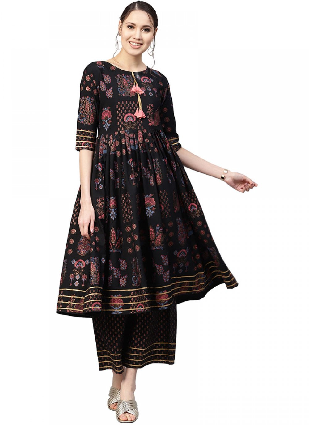 Readymade Designer Suit Printed Faux Crepe in Black