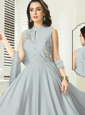 Readymade Gown Embroidered Art Silk in Grey