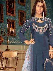 Readymade Gown  Resham Muslin in Blue