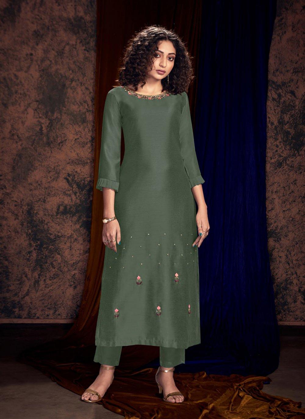 Readymade Salwar Kameez Embroidered Art Silk in Teal