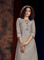 Readymade Salwar Kameez Embroidered Cotton Satin in Grey