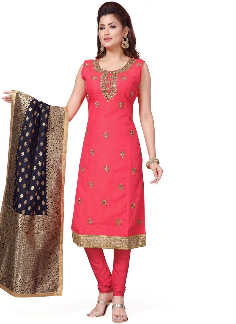 Readymade Suit Embroidered Art Silk in Hot Pink