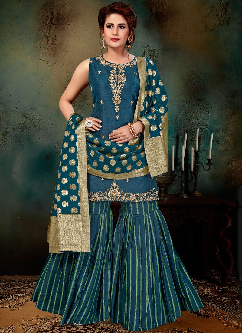 Readymade Suit Embroidered Art Silk in Teal
