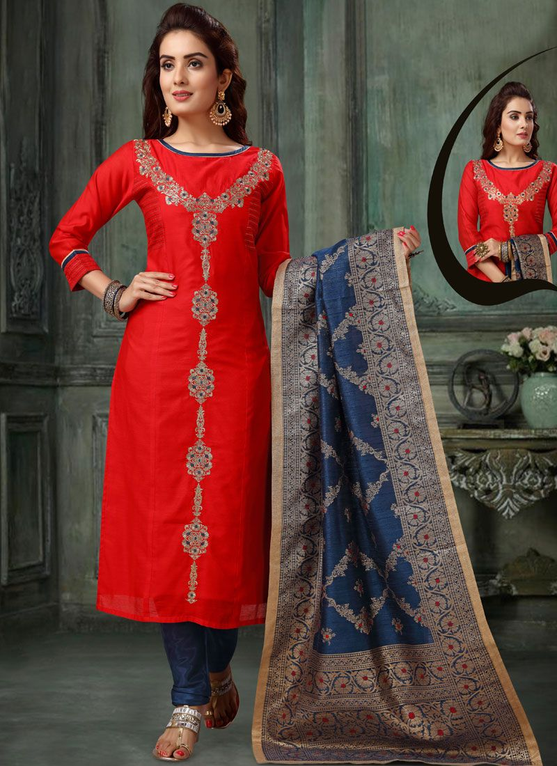 Readymade Suit Embroidered Chanderi in Red