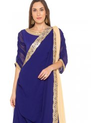 Readymade Suit Embroidered Faux Georgette in Blue