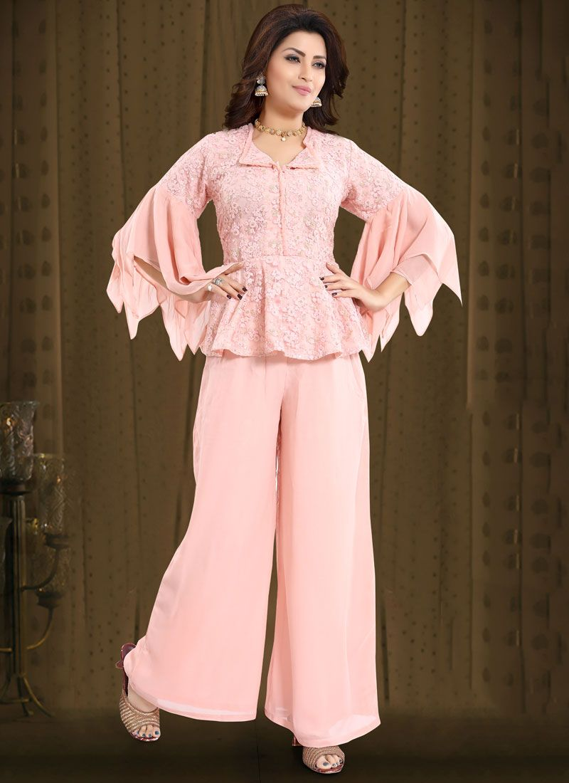 Readymade Suit Embroidered Net in Pink