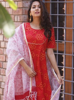 Readymade Suit Fancy Cotton in Red