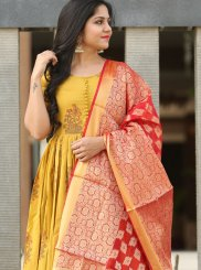 Readymade Suit Fancy Cotton in Yellow