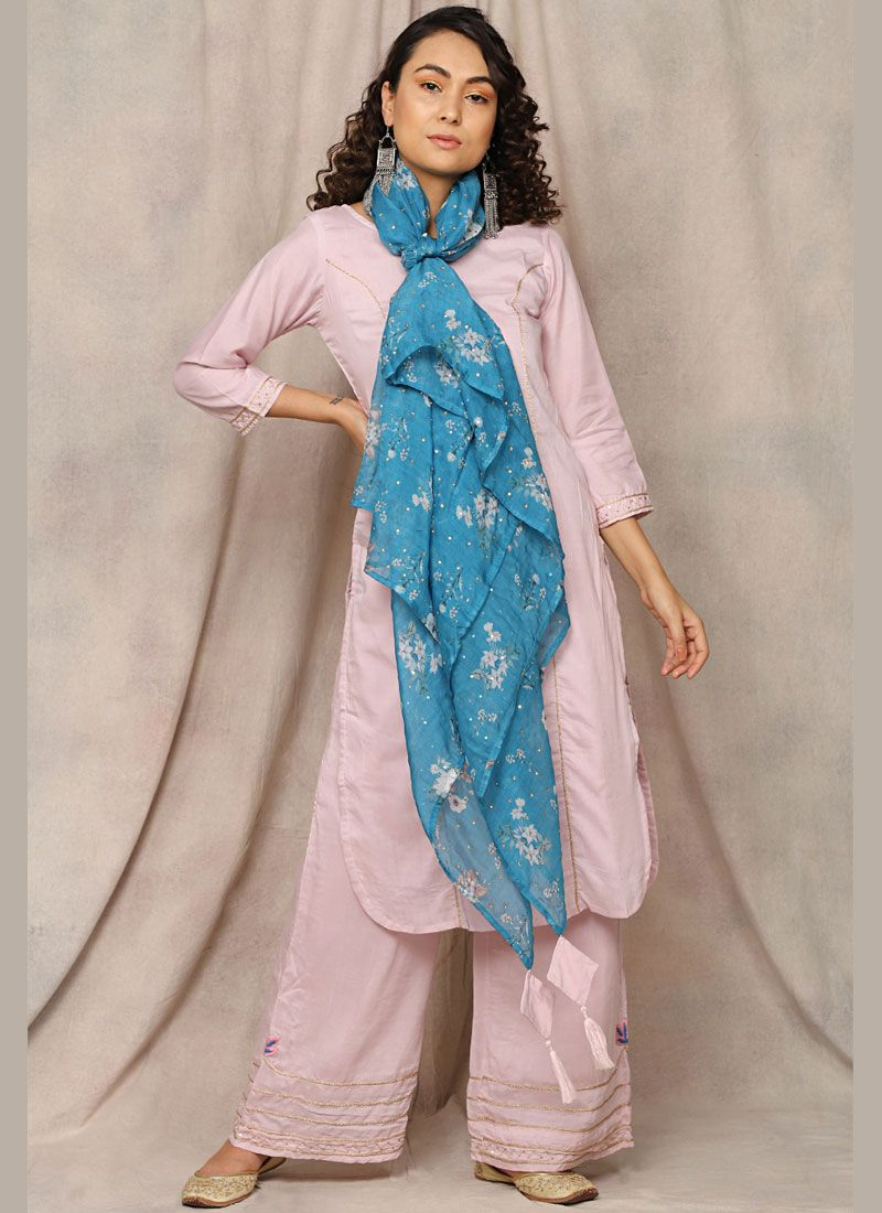 Readymade Suit Handwork Cotton in Pink