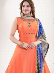 Readymade Suit Handwork Crepe Silk in Orange