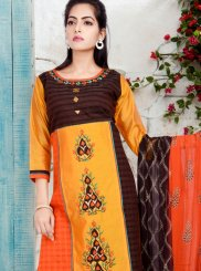 Readymade Suit Print Chanderi in Orange and Yellow