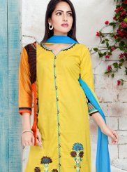 Readymade Suit Print Cotton   in Yellow