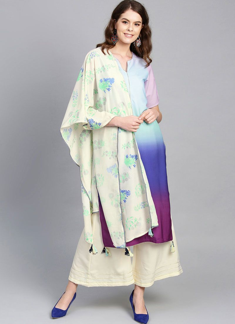 Readymade Suit Print Faux Crepe in Multi Colour