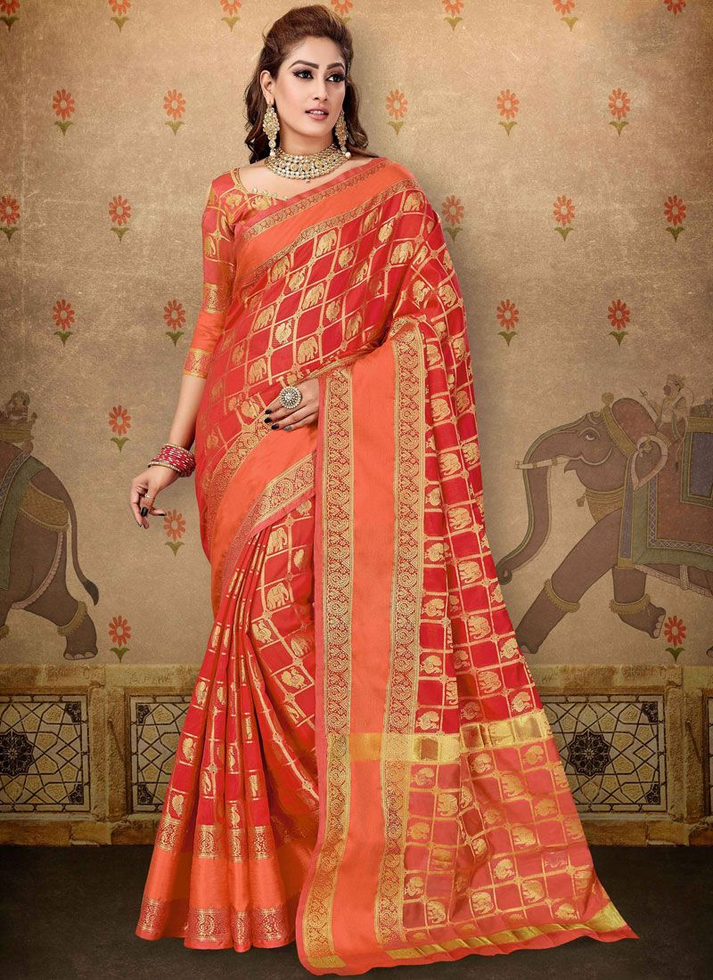 Red Abstract Print Cotton Designer Saree
