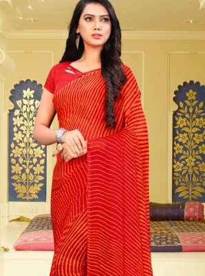 Red Abstract Print Faux Chiffon Printed Saree