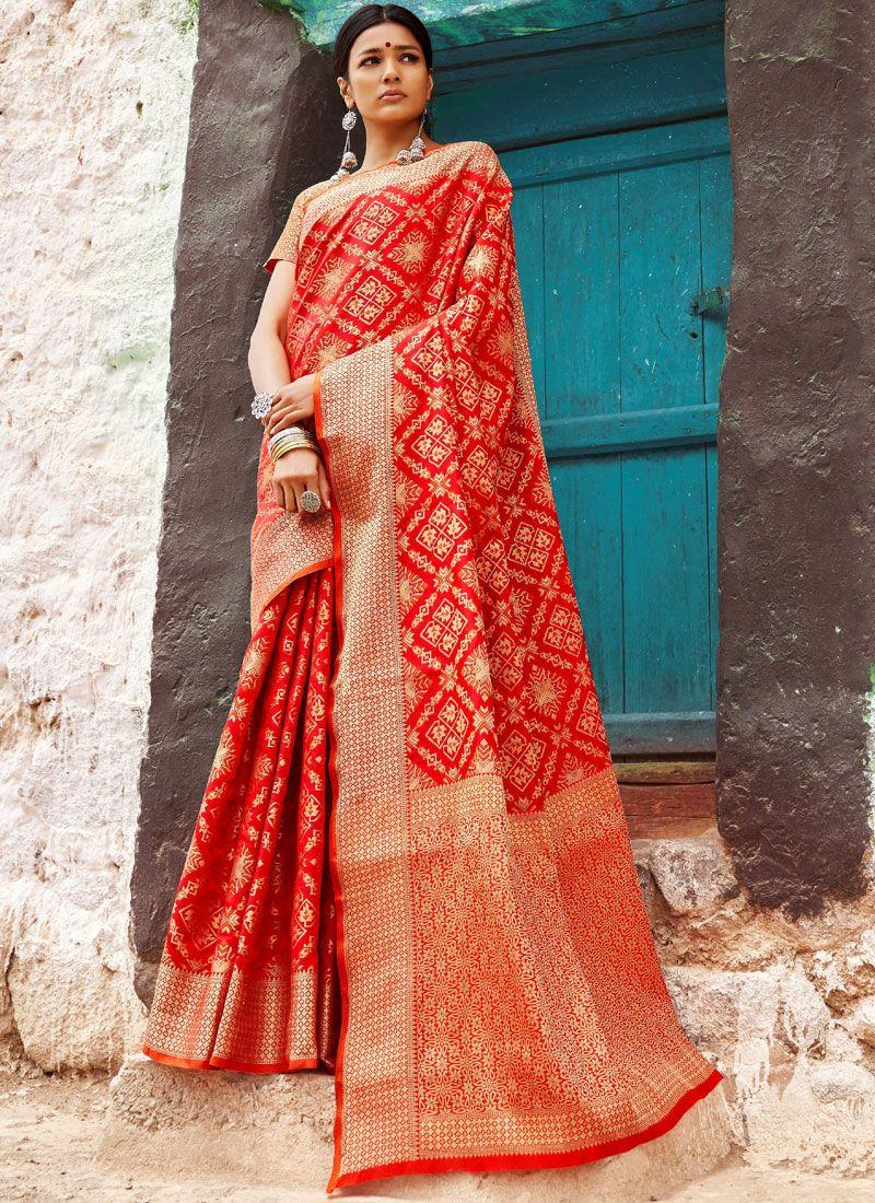 Red Abstract Print Patola Silk  Designer Saree