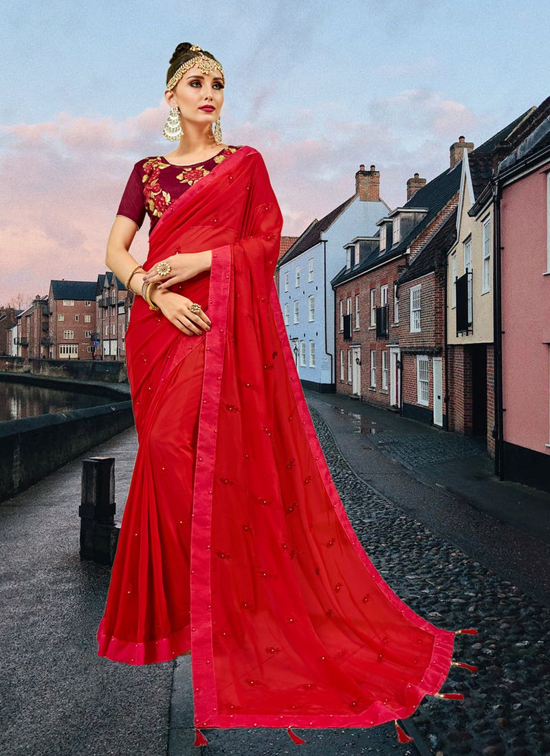 Red Abstract Print Printed Saree