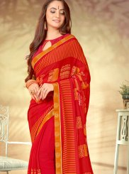 Red Abstract Print Weight Less Printed Saree