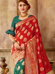 Red and Sea Green Traditional Saree