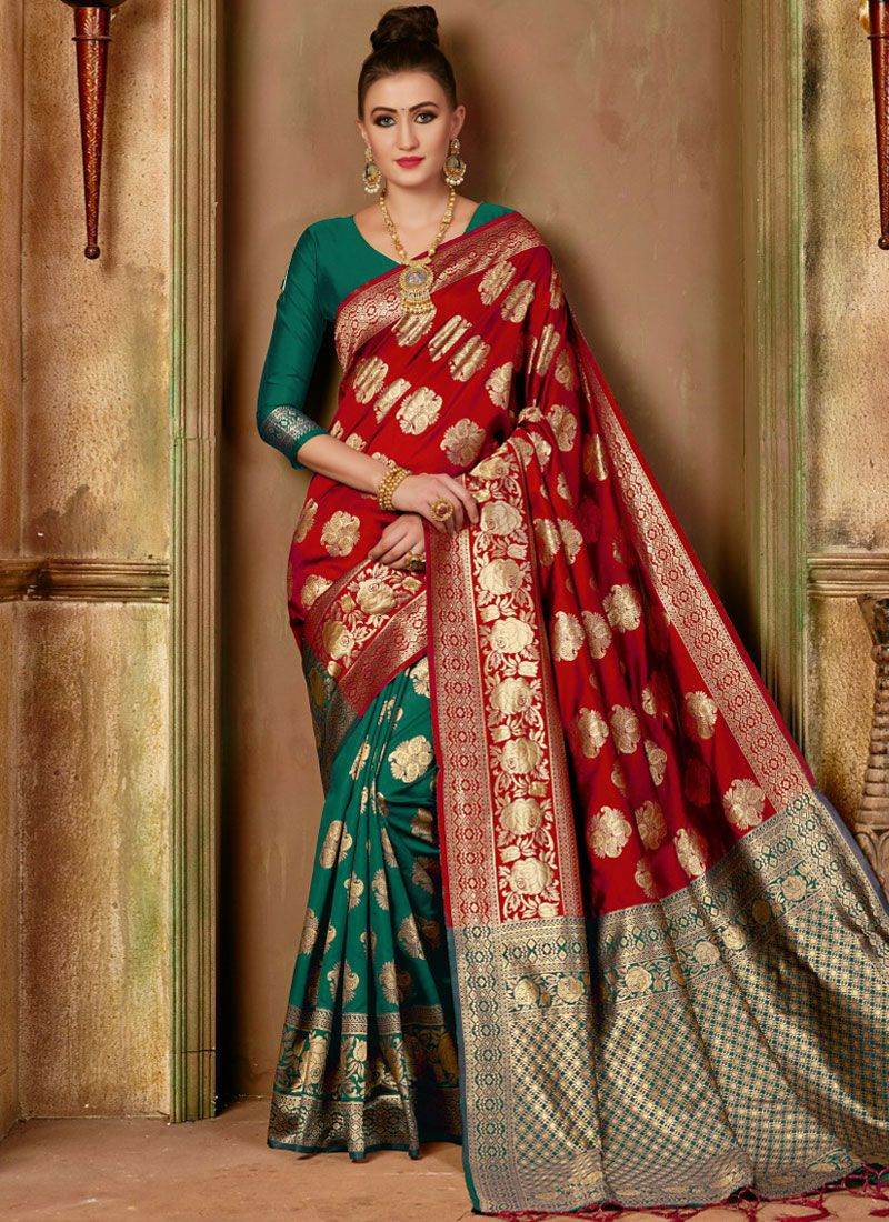 Red and Sea Green Weaving Festival Designer Traditional Saree