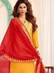 Red and Yellow Banarasi Silk Trendy Churidar Salwar Kameez