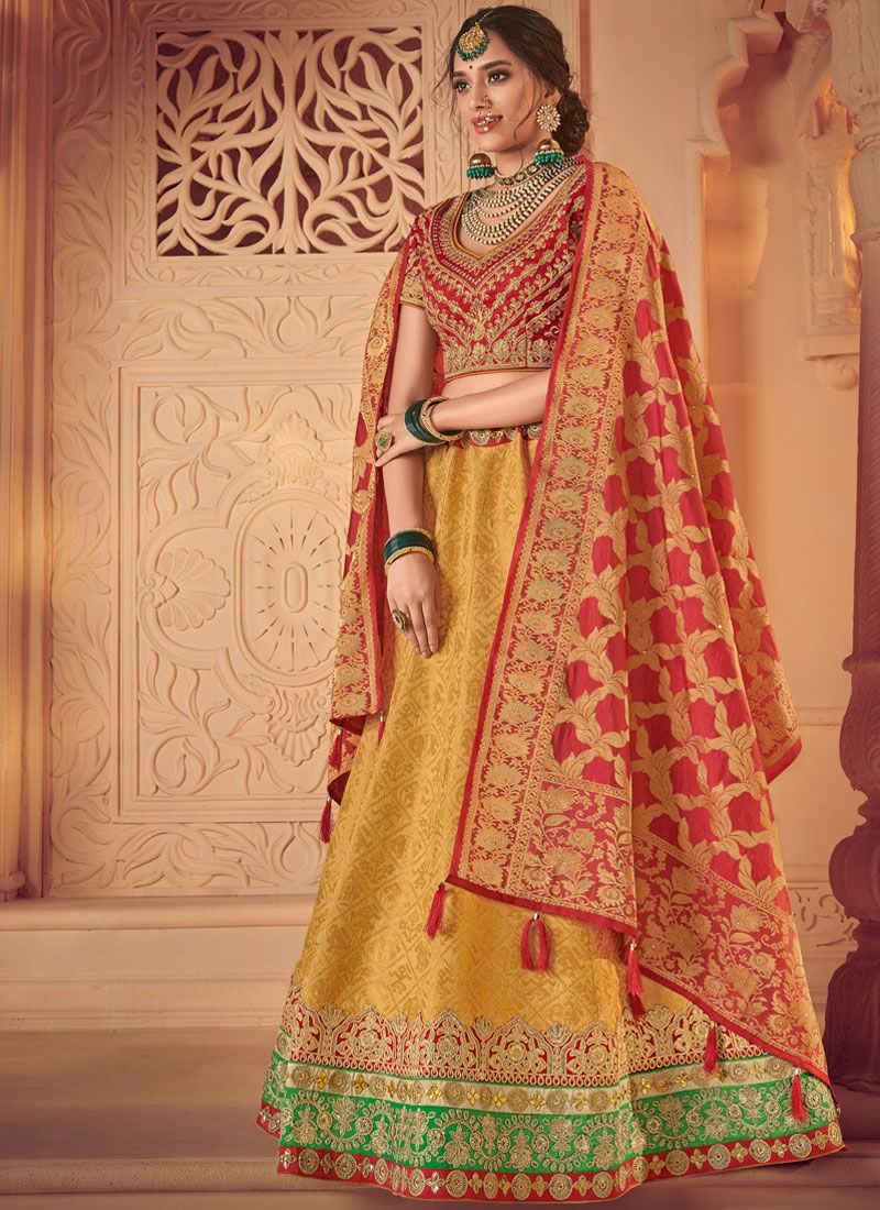 Red and Yellow Jacquard Lehenga Choli