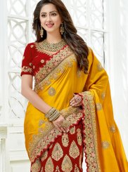 Red and Yellow Lehenga Saree